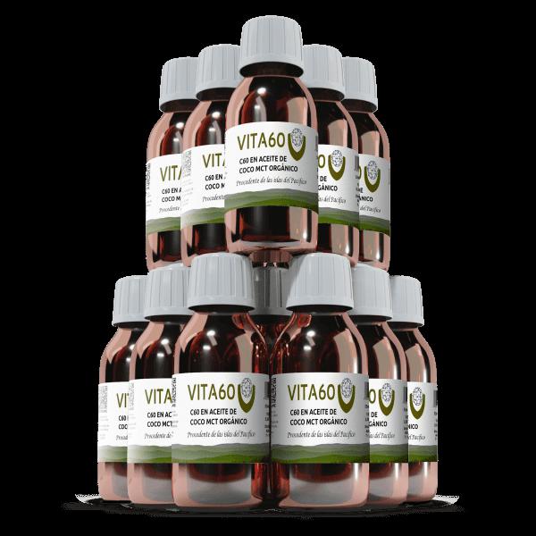 12 frascos de aceite de coco C60 MCT