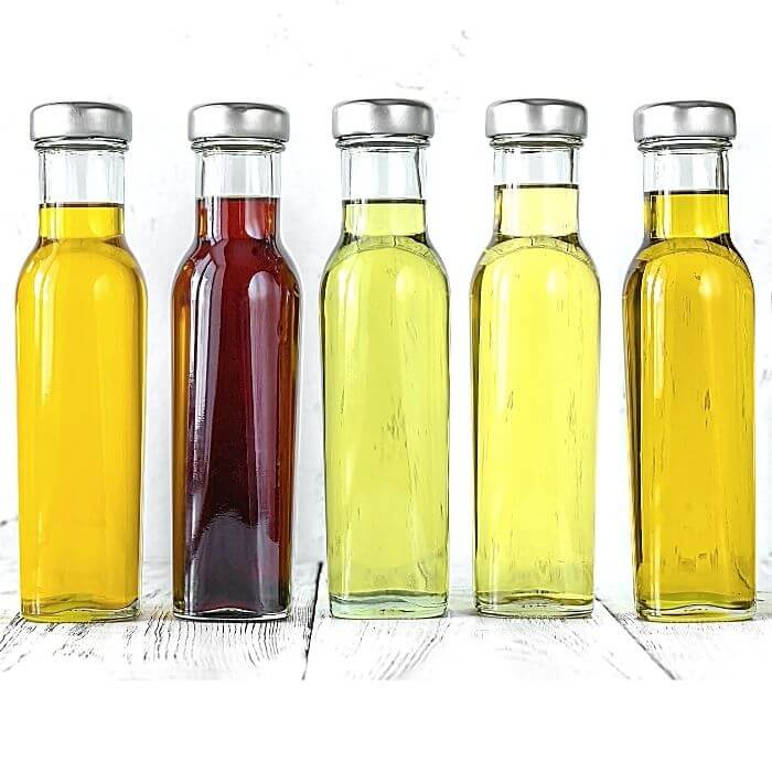 Variety of bottles of oil for C60
