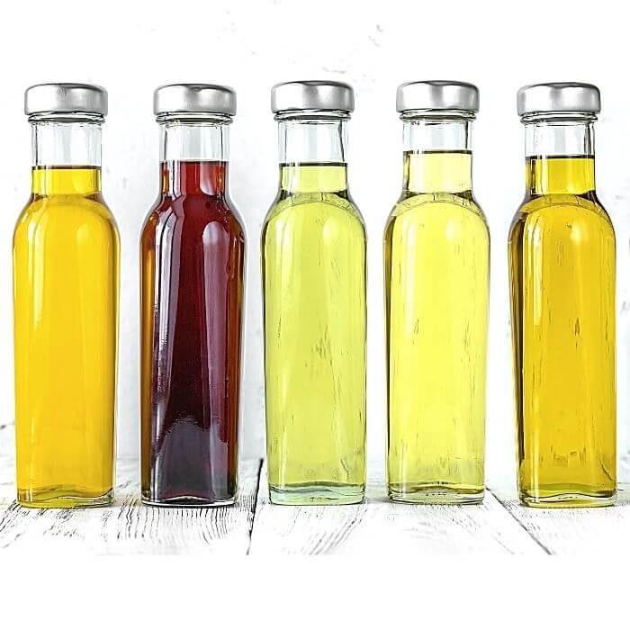 Variety of bottles of oil for C60
